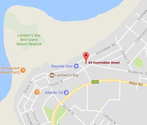 Map to Lamberts Bay Holiday Home